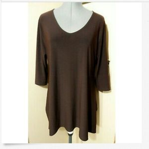 SHARK BITE Hem Tunic Top M Brown dressy blouse